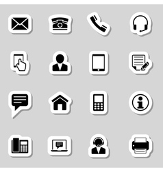Contact icons set as labes vector
