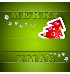 Merry xmas green card with tree vector