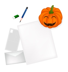 Pencil lying on blank page with halloween pumpkin vector