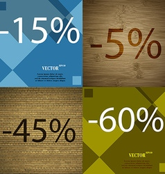 5 45 60 icon set of percent discount on abstract vector