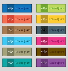 Usb icon sign set of twelve rectangular colorful vector