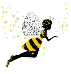 Little bee fairy girl vector