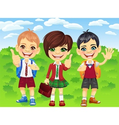 Smiling schoolchildren boys and girl vector