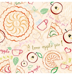 Apple pie line art pattern vector
