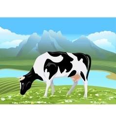Cow and rural meadow landscape vector