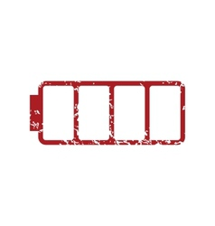 Red grunge empty battery logo vector