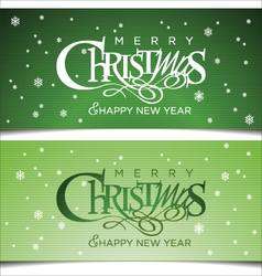 Christmas green greeting card vector