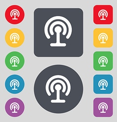 Wifi icon sign a set of 12 colored buttons flat vector
