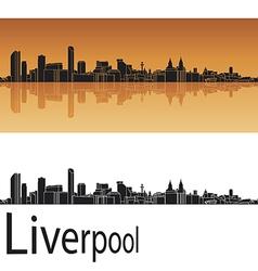 Liverpool skyline in orange background vector