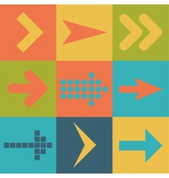Set arrow icons flat ui web design elements trend vector