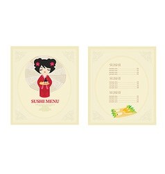 Template of traditional japanese food menu set vector