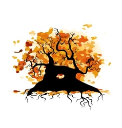 Autumn old tree with roots for your design vector