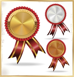 Gold silver and bronze labels vector
