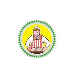 Butcher chopping ham rosette cartoon vector