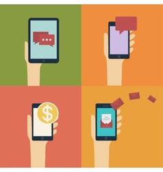Hand holding smart  mobile phone and tablet flat vector