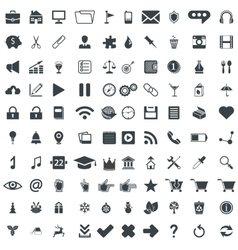 100 universal pictograms for web and mobile apps vector