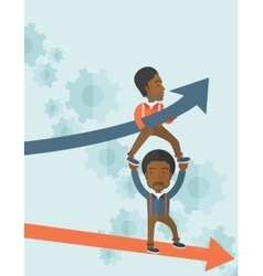 Two black guy in two arrows going up and down vector
