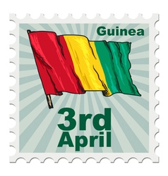 Post stamp of national day of guinea vector