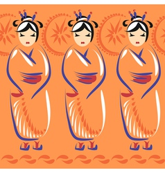 Geisha in national clothing with umbrellas vector