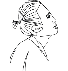 Sketch of an asian in profile in 2 layers vector