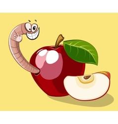 Cartoon worm in apple vector