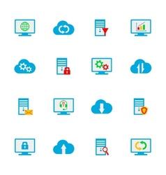 Flat design set with hosting server vector