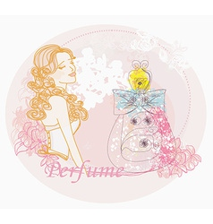 Abstract woman and bottle of perfume with a floral vector
