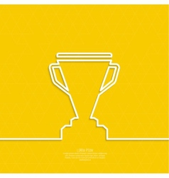 Gold cup of the winner on a pedestal vector