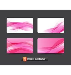 Business card template set 16 pink wave curve vector