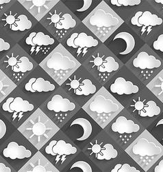 Seamless pattern of weather icons paper vector