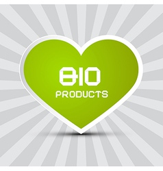Love bio products theme with green paper heart on vector