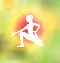 Yoga pose blurred floral background vector