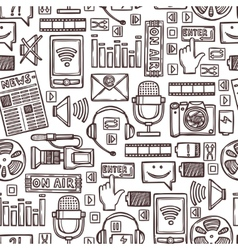 Media sketch seamless pattern vector