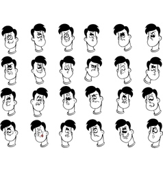 Set of male cartoon faces with emotional vector
