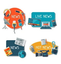 Stickers with journalism icons vector