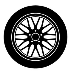 Car aluminum wheel black white symbol vector