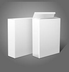 Two realistic white blank paper packages for vector