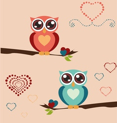 Owl love print vector