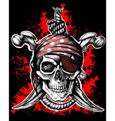 Black jolly roger skull vector