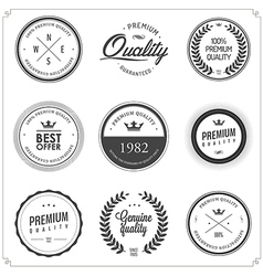 Set of vintage monochrome retail labels and badges vector