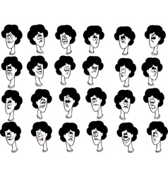 Set of cartoon female faces with emotional vector