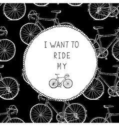 Bicycle hand drawn card black and white colors vector