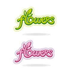 Flowers handwritten word vector