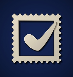 Paper positive checkmark postage stamp vector