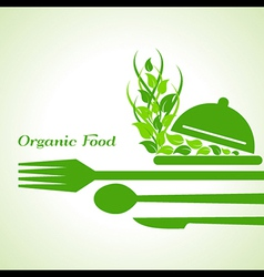 Organic food label design concept with restaurant vector