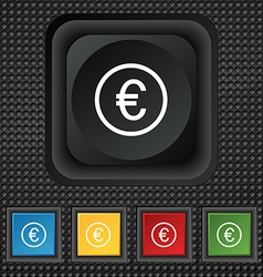 Euro icon sign symbol squared colourful buttons on vector