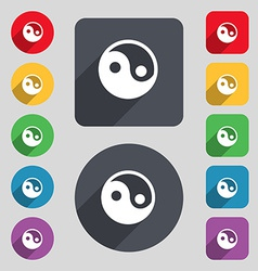 Ying yang icon sign a set of 12 colored buttons vector