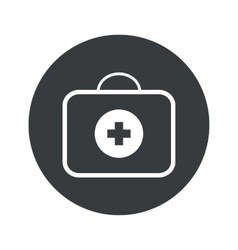 Monochrome round first-aid kit icon vector