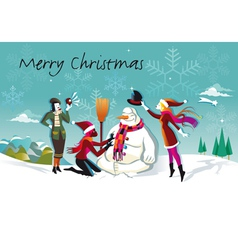 Snowman and three girls vector