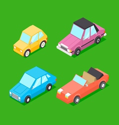 Cartoon isometric cars vector